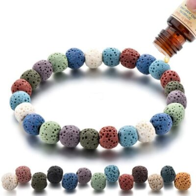Bracelet aromathérapie pierre de lave multicolore 1